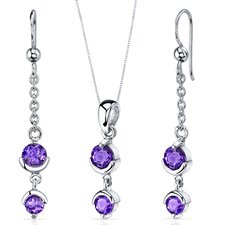 Round Cut Gemstone Simply Seductive Pendant Earrings Set