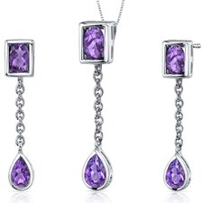 <strong>Oravo</strong> Oval and Pear Shape Gemstone Dangling Dazzle Pendant Earrings Set