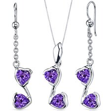 Heart Shape Gemstone Cupid Duet Heart Shape Pendant Earrings Set