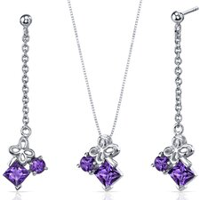 <strong>Oravo</strong> Princess and Round Cut Gemstone Butterfly Design Pendant Earrings Set