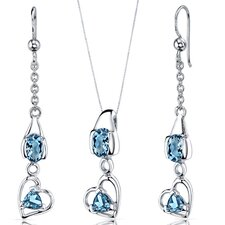 Oval and Trillion Cut Gemstone Heart Design Pendant Earrings Set
