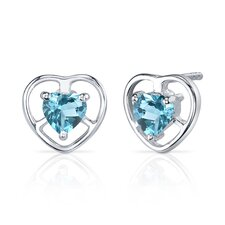 Heart Cut Gemstone Solitaire Design Pendant Earrings Set