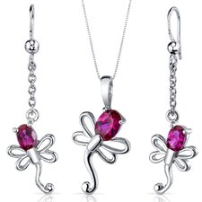 Oval Cut Gemstone Dragonfly Design Pendant Earrings Set
