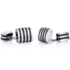 Titanium Unique Black Stripe Polished Chain Style Mens Cufflinks