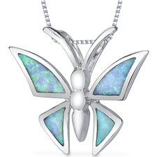 Opal Butterfly Design Pendant