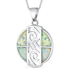Opal Spiral Circle Pendant
