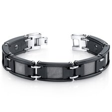 Men's Mesh Accent Black Ceramic and Stainless Steel Bracelet