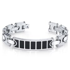 <strong>Oravo</strong> Men's Black Center H Style Link Combination Finish Stainless Steel I.D. Bracelet