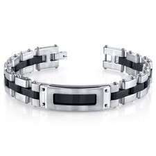 Men's Riveted Industrial Black and Two Tone Stainless Steel Bracelet