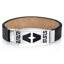 Men's Greek Key Black Genuine Leather and Stainless Steel Bracelet