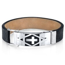 Harmony of Faith Cross and Star of David Black Genuine Leather Men's  Stainless Steel Bracelet