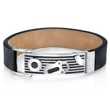 Men's Padlock Design Black Genuine Leather and Stainless Steel Bracelet
