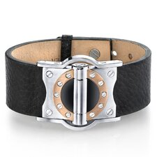Riveted Industrial Watch Style Brown Genuine Leather and Stainless Steel Bracelet