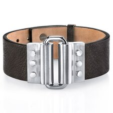Industrial Link Design Brown Genuine Leather and Stainless Steel Bracelet