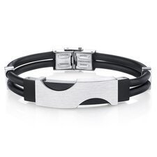 Men's Minimalist Stainless Steel and Black Silicon Bracelet
