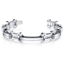 Men's Curved Link Mirror Finish Stainless Steel Bracelet