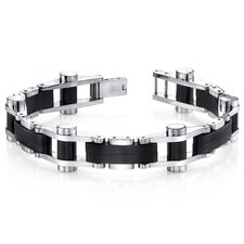 Sleek Sophistication Matte Black Mirror Finish Stainless Steel Men's Bracelet