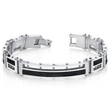Men's Black Enamel Stylish High Polish Stainless Steel Bracelet