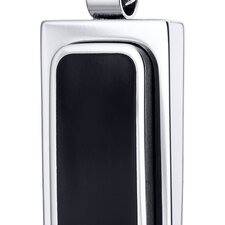 Simplistic Black Center Polished Finish Stainless Steel Dog Tag Style Pendant