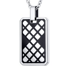 Modern Mosaic Design Black Stainless Steel Dog Tag Style Pendant