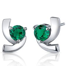 Illuminating 1.50 Carats Round Cut Emerald Earrings