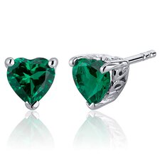 1.50 Carats Heart Cut Emerald Stud Earrings