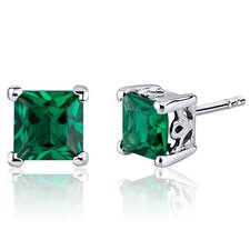2.00 Carats Princess Cut Emerald Scroll Design Stud Earrings