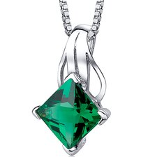 "2.00 Carats Princess Checkerboard Cut Emerald Pendant with 18"" Necklace"