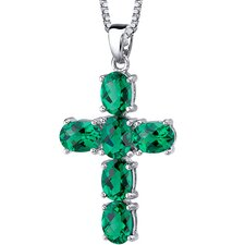 "4.50 Carats Oval Cut Emerald Cross Pendant with 18"" Necklace"