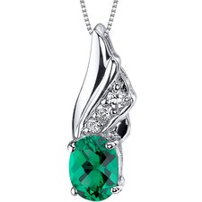 Graceful Angel 1 Carat Oval Cut Emerald Pendant