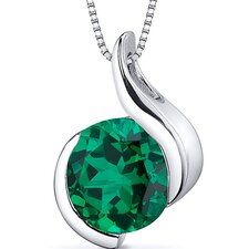 Stunning Sophistication 1.75 Carats Round Cut Emerald Pendant