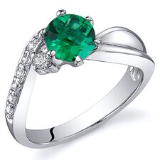 Ethereal Curves 0.75 Carats Round Cut Emerald Ring