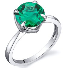 Sublime Solitaire 1.75 Carats Round Cut Emerald Ring