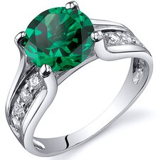 1.75 Carats Round Cut Emerald Solitaire Style Ring