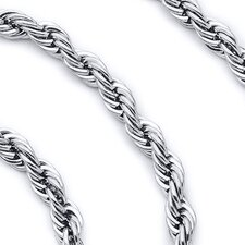 5mm Diamond Cut Stainless Steel Rope Chain Necklace