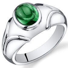 Men's Sterling Silver Oval Cut Gemstone Ring