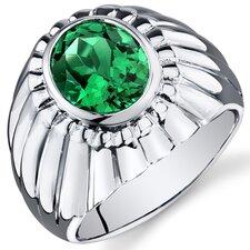 Men's Sterling Silver Oval Cut Gemstone Ring