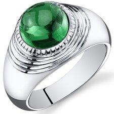 Men's Sterling Silver Round Cut Gemstone Ring