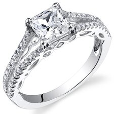 Sterling Silver Princess Cut Cubic Zirconia Single Stone Ring