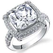 Sterling Silver Cushion Cut Cubic Zirconia Halo Ring