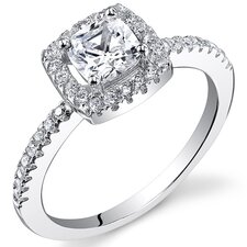 <strong>Oravo</strong> Sterling Silver Cushion Cut Cubic Zirconia Halo Ring