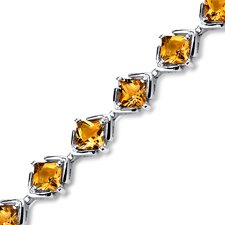 Princess Cut Citrine Link Bracelet