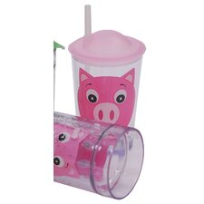 Children's Friendly Faces 4 Piece Pig Glass Set with Lids and Straws