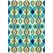 Enzo Ivory & Blue Indoor/Outdoor Area Rug