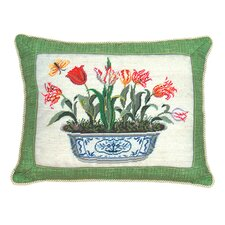 Tulip in Pot 100% Wool Petit-Point Pillow with Fabric Trimmed