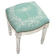 French Dragonfly Linen Upholstered Vanity Stool