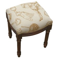 Equestrian Linen Upholstered Vanity Stool