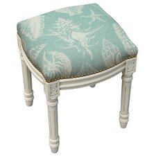 Coastal Seashells Linen Upholstered Vanity Stool
