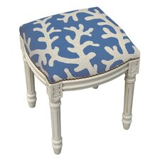 Coastal Coral Linen Upholstered Vanity Stool