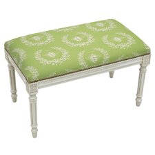 French Upholstered and Wood Bench